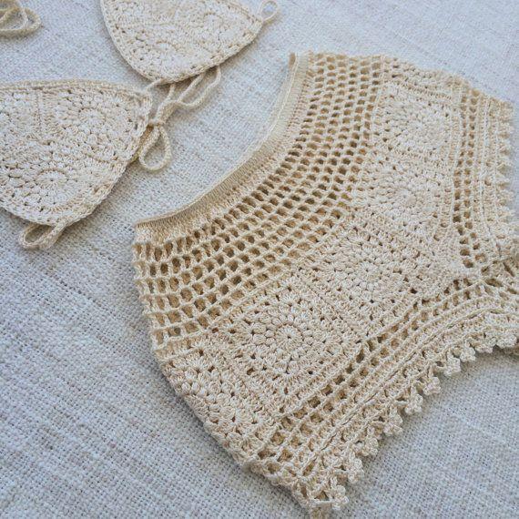 Pretty CROCHET High Waist Lace BIKINI. One of a by VelvetRainbows
