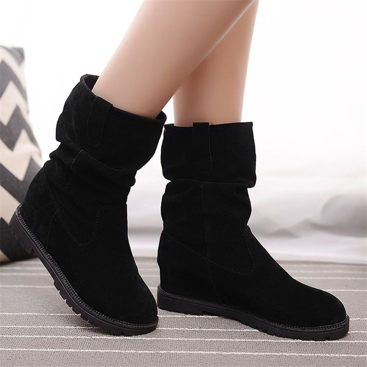 2015 Women winter casual shoes suede leather mid-calf height increasing boots ladies slip on boot  fashion botas mujer KM797