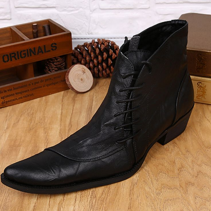 2017 Style Fashion Men's Boots Lace-Up Martin Boots Pointed Toe Handsome Riding Boots for Men Shoes Plus Size 38-46
