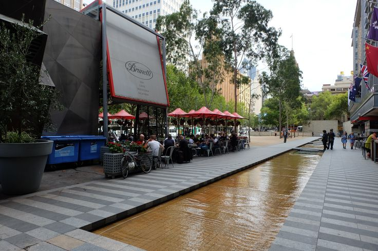 Water feature behind Brunetti's cafe in Swanston St.