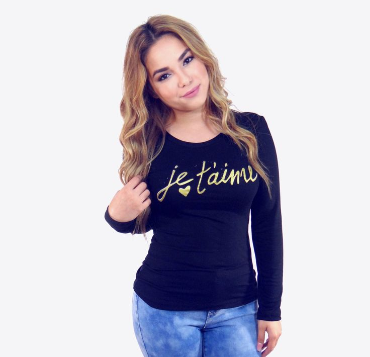Je t'aime, Black and Gold Long Sleeve Top, blackTop, fitted long sleeve, graphic tee, soft tee, love tshirt, plus size, plus size fitted top by DecoTease on Etsy