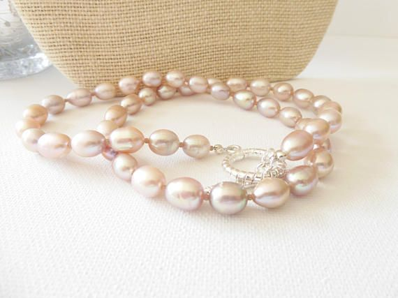 Freshwater cultured pearl necklace pearl necklace rice pearl
