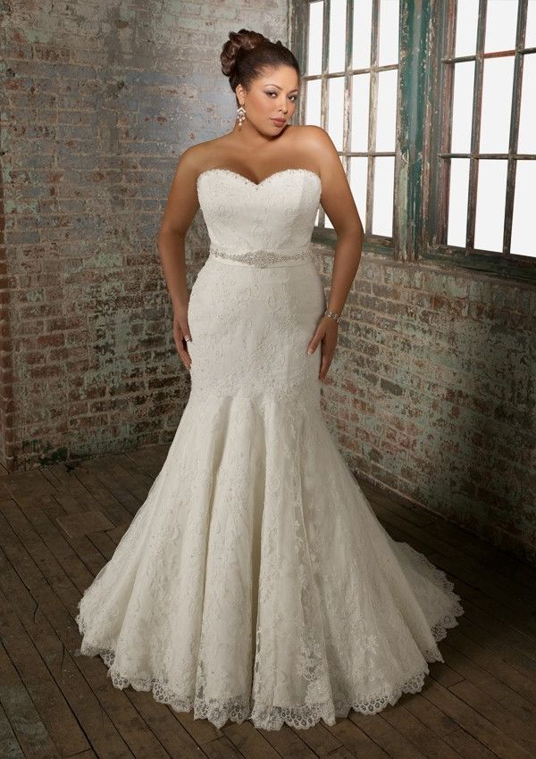 82 best wedding dresses images on pinterest short for Plus size trumpet wedding dress with sleeves