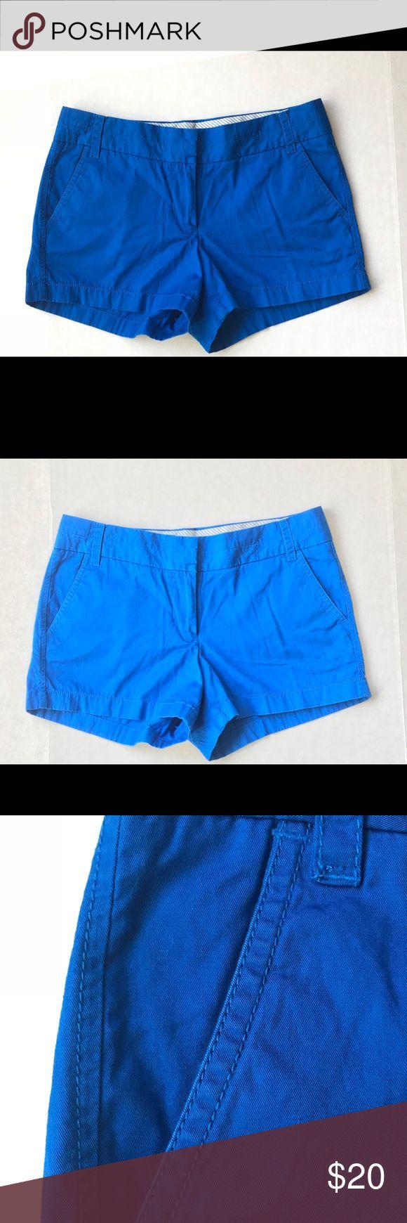 "J. Crew Chino broken in shorts J. Crew brand , broken in chino shorts, cobalt blue EUC , size 8 , 3"" inseam , waist to hem line 11"" J. Crew Shorts"