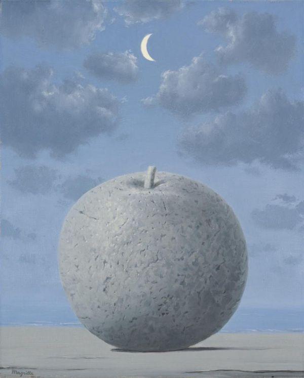 Reproduction de Magritte, Souvenir de voyage. Tableau peint à la main dans nos ateliers. Peinture à l'huile sur toile.
