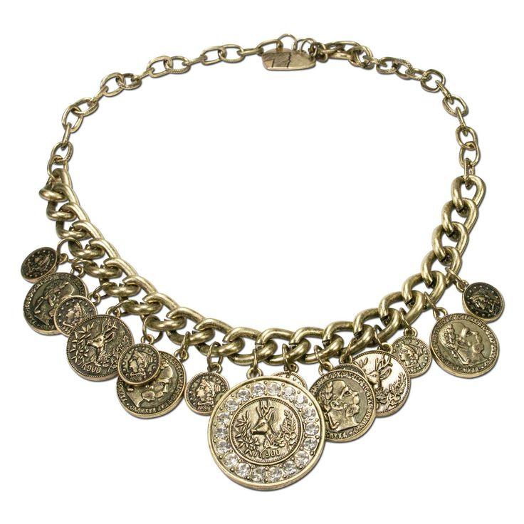Dirndlkette mit filigranen Münzanhängern Trachtenkette in Antik-Gold Dirndlschmuck von Alpenflüstern Länge der Kette: 45 cm handgefertigter Trachtenschmuck für Damen