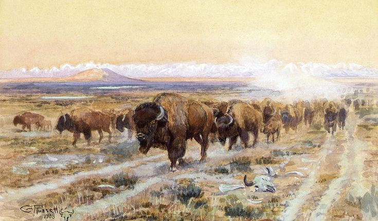 The Bison Trail Charles M. Russell 1908 WikiArt.org - the encyclopedia of painting