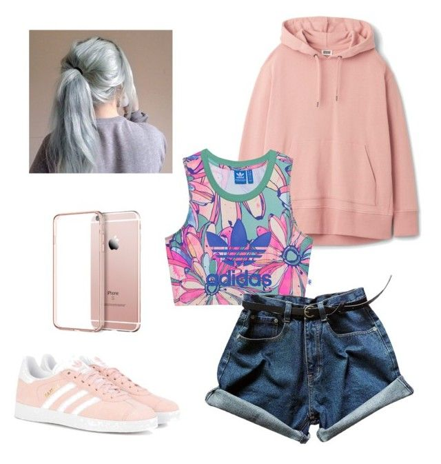 """#casualoutfit#greyhair#IPhonerosegold#Adidaspower#stylishandsimple#pinkinspiration#AdidasGazelle"" by carla-ana-maria on Polyvore featuring adidas Originals"