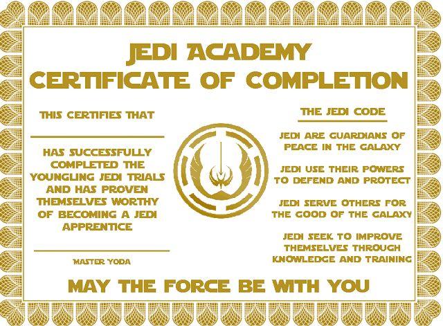Star Wars Party - Jedi Academy Certificate