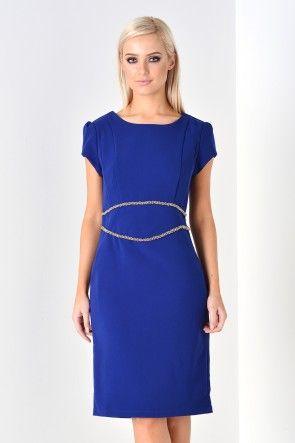 Lena Embellished Dress in Royal Blue