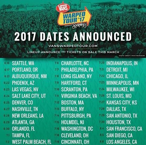 Warped Tour 2017 dates!!! I'm feeling a potential 3 day run in July!! :)