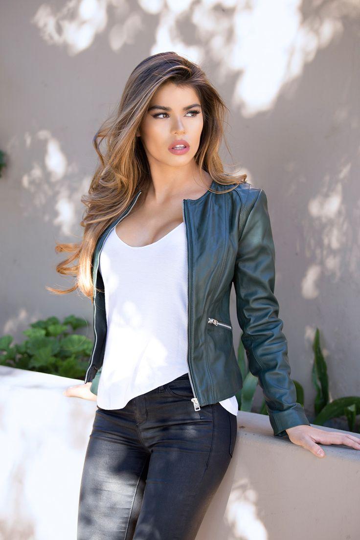 Womens Green Leather Jacket Collarless Round Neck - Soft Lambskin