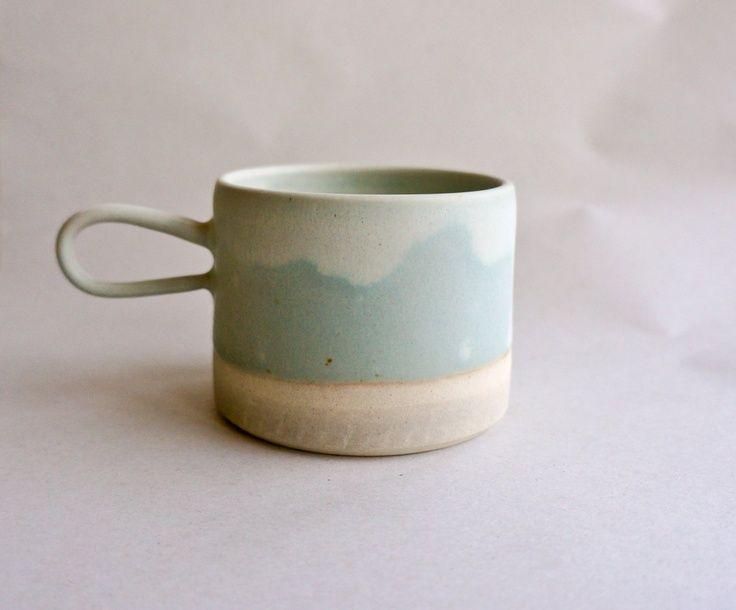 dipped green ceramic mug.