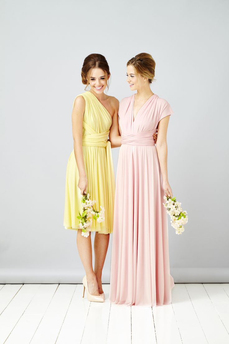 In One Clothing multi way bridesmaid dresses- Blush and yellow, shot and long bridesmaids
