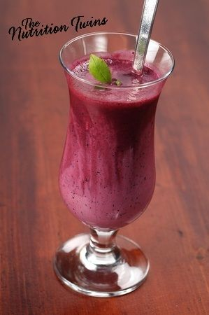 PB & Blueberry Smoothie | Great, Energy-Boosting Delicious Breakfast | Only 259 Calories | 16 Grams Protein | For MORE RECIPES, fitness & nutrition tips please SIGN UP for our FREE NEWSLETTER www.NutritionTwins.com