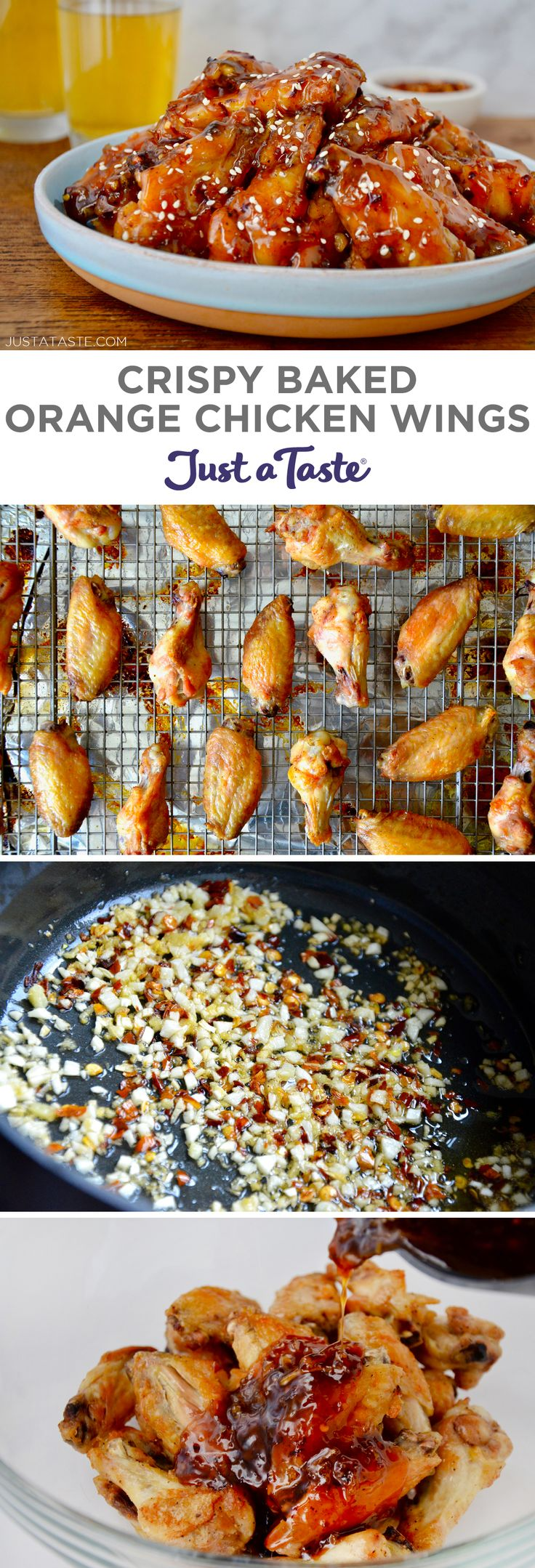 Crispy Baked Orange Chicken Wings recipe from justataste.com #recipe #appetizer #superbowl #healthyrecipes