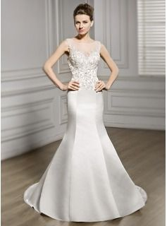 Trumpet/Mermaid Scoop Neck Chapel Train Satin Tulle Lace Wedding Dress With Beading Sequins (002056980) - JJsHouse