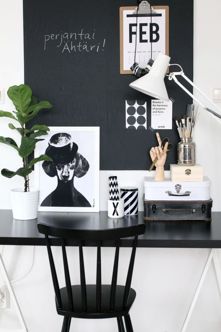 Inspiring Homes: Nurin Kurin | Nordic Days · Office WorkspaceBlack Office  DeskCute ...