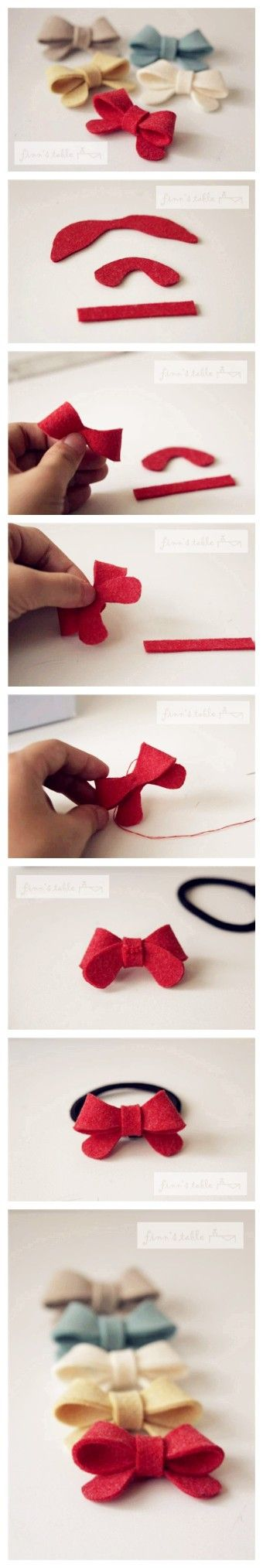Little felt bows- MUST make.Hairbows, Bow Tutorial, Bows Ties, Bows Tutorials, Hair Ties, Hair Bows, Felt Bows, Diy, Crafts