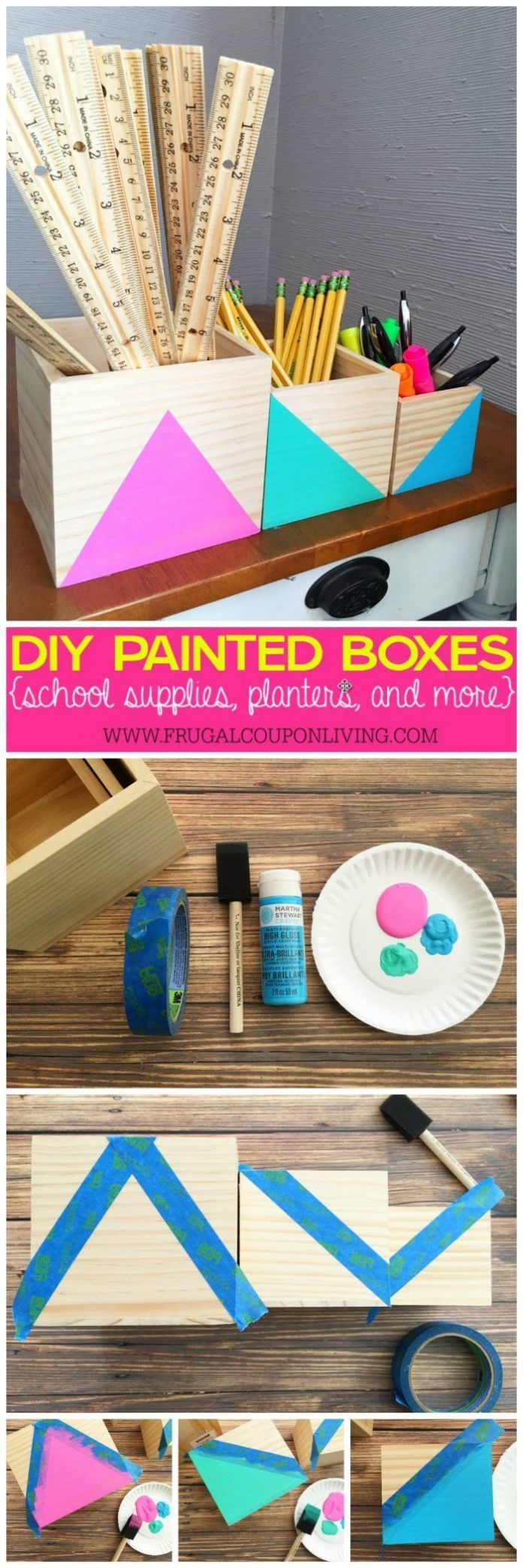 Best Diy Crafts Ideas For Your Home : DIY Painted Boxes  Great for School Supplies Planters & More on Frugal Coupon