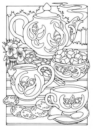 Colouring pages coloring pinterest coloring for Tea party coloring page