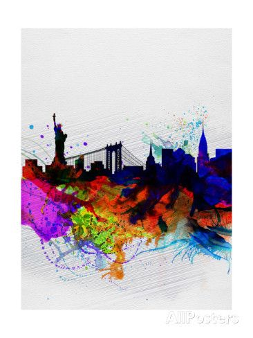 New York Watercolor Skyline 1 Poster by NaxArt at AllPosters.com