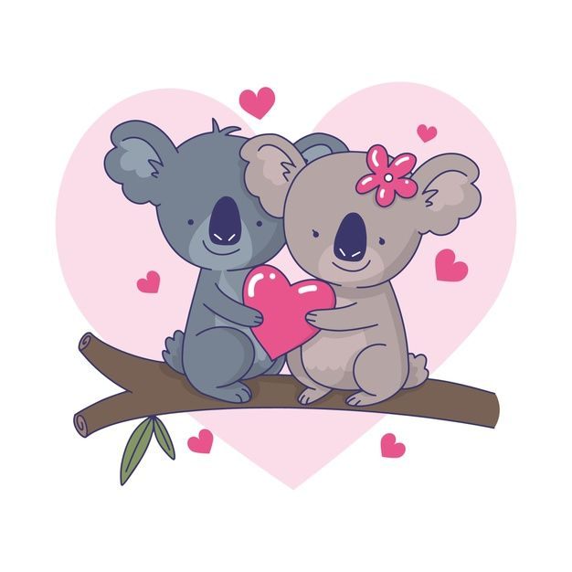 Cute Koala Couple Illustration Free Vect Free Vector Freepik Freevector Love Animal Cute Celeb Koala Drawing Couple Illustration Animal Illustration