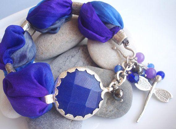 Turkish Silk Bracelet - Dark Blue Jade / Dragonfly charm