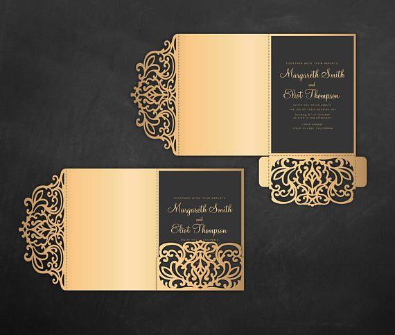 tri fold pocket envelope 5x7 wedding invitation dxf svg