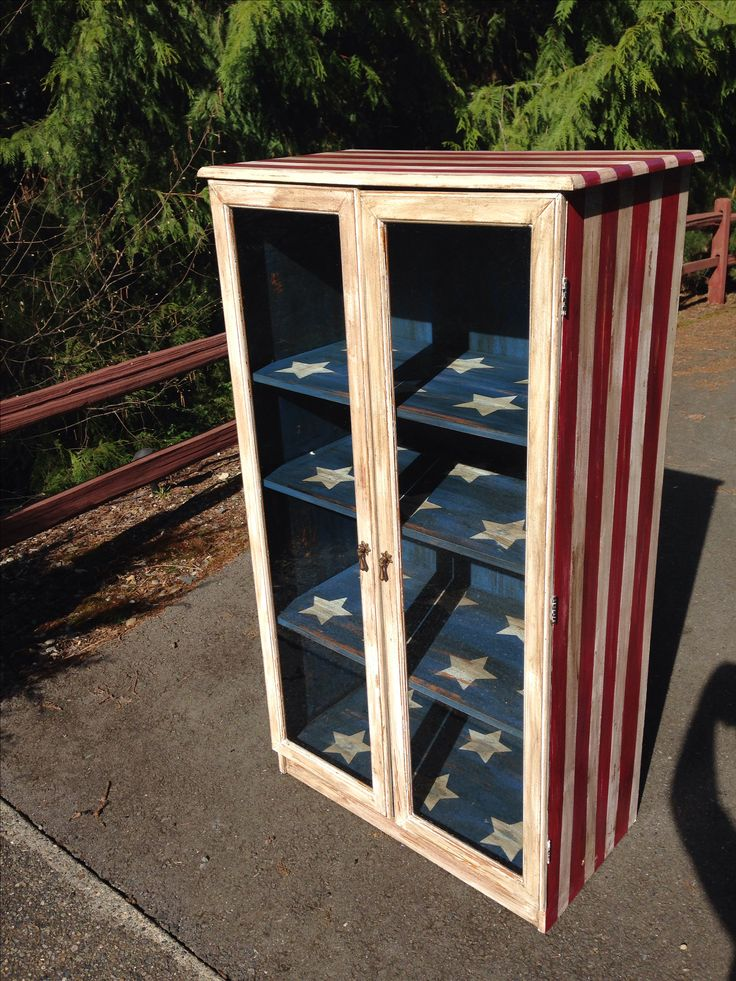 Vintage American Flag theme Cabinet. Painted with homemade chalk paint and finished in a dark wax.