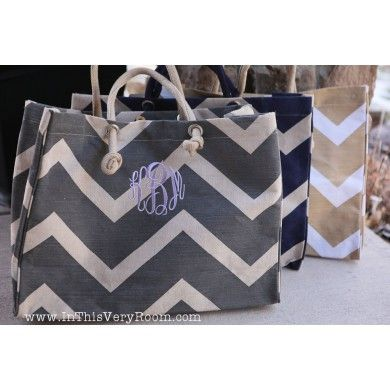 Chevron Jute Tote Bags These are amazing- spacious and sooo cute! And so reasonably priced! Great hostess gifts!