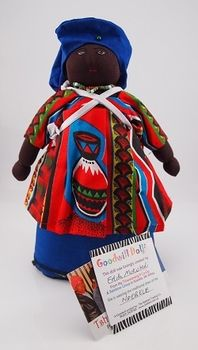 Blue & Red Goodwill Doll - traditionally handmade in Soweto, South Africa. The Tshwaranang-B Co-Op group of ladies get together every day to chat, offer each other support, and most importantly to make things. They create the wonderful 'Goodwill Dolls'. They derive their income from this self help initiative. Fair Trade stamped on card attached to Doll.