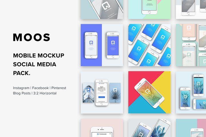 Moos Mobile Mockup Social Media 16857 Mockups Design Bundles Mobile Mockup Design Mockup Free Free Psd Mockups Templates