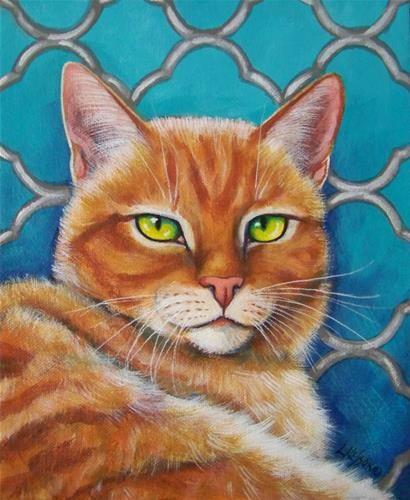 "Daily Paintworks - ""Orange Cat on Turquoise Quatrefoil"" - Original Fine Art for Sale - © Lisa M. Nelson"