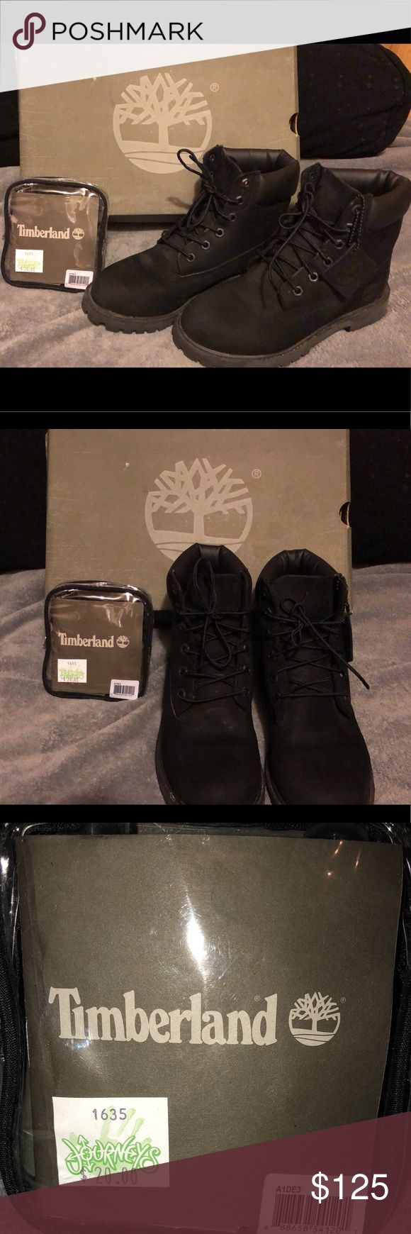 Black Timberland Boots Brand new black timbs. Worn twice and in good condition. Includes cleaning kit. Purchased for $180, asking $125 obo. Size 4 junior, which fits a 5.5-6 in women, as that is my shoe size. Timberland Shoes Combat & Moto Boots