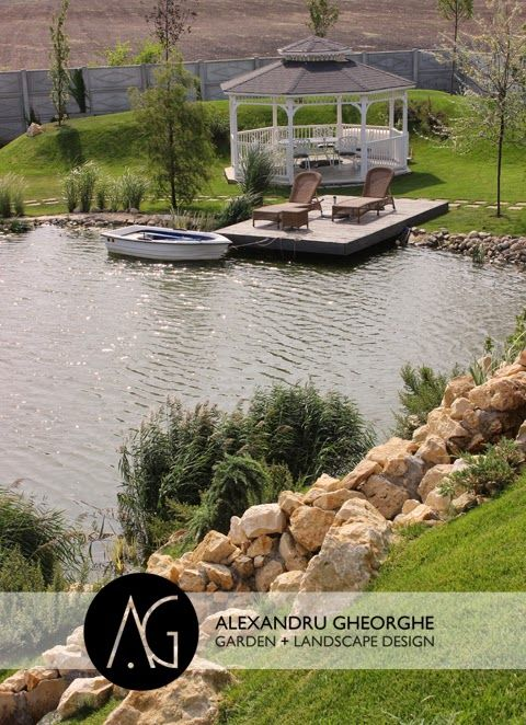 Arhitect Peisagist Alexandru Gheorghe - garden landscape design Amenajare gradina Gradina cu lac. Iaz cu pesti. Proiectare gradina. Amenajare gradina moderna.
