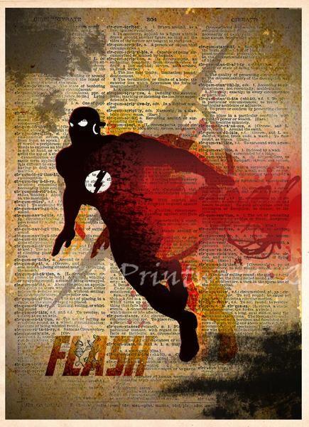 The Flash art, The Flash poster, Vintage Silhouette print, Retro Super Hero Art, Dictionary print art -  - 1