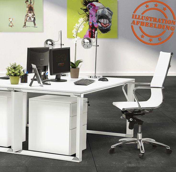 Design, hoekvormig directiebureau 'XLINE' van wit glas