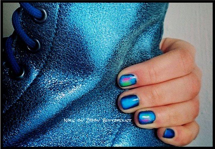 Blue Shoe nails by Ziggy Glitterdust, neon, pink, metal shine