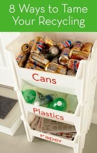 8 clever ways to organize your recycling -- great ideas! Definitely going