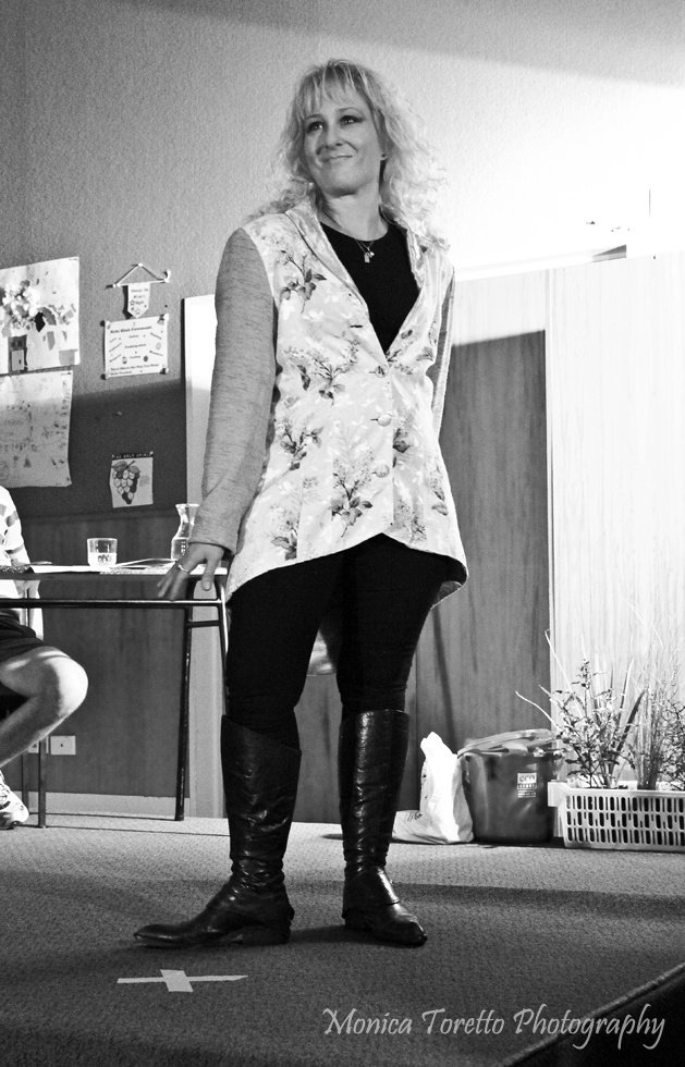 A lovely design made entirely from recycled materials.   Upcycle Fashion Show.  Invercargill, June 14, 2013.