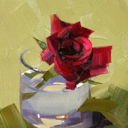 Red Rose, painting by artist Qiang Huang