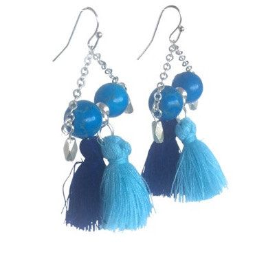 Blue Tassel and Chain Drop Earrings, Blue Howlite, Sterling & Tribal Silver Beads by IvyAndBird on Etsy