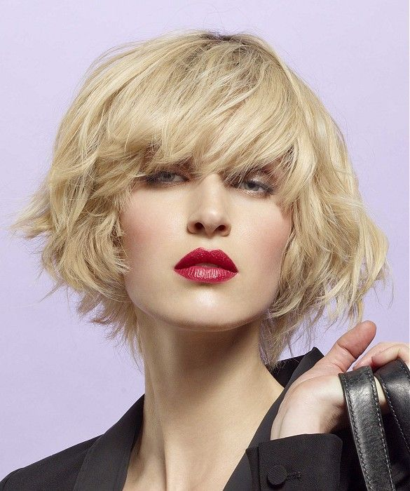 Short Blonde wavy coloured French Womens volume haircut hairstyles ...