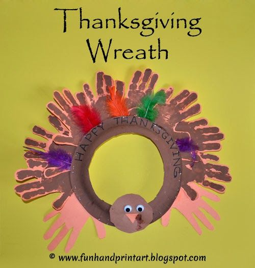 Handprint turkey thanksgiving wreath kids craft crafts for Thanksgiving crafts to make and sell