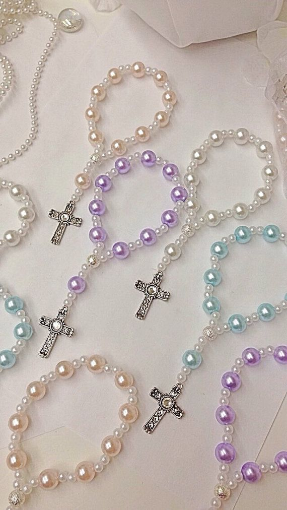 A DOZEN Beautiful Lavender, Pink and White Pearl Rosary Bracelets.