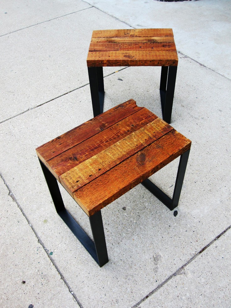 Reclaimed Pine 2 X With Linseed Oil And Lacquer Thinner Finish. X 2  Lacquered Mild Steel Legs. Side Table, Stool, Put Them Together For A Bench. Part 94