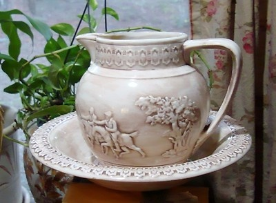 Antique Bowl and Pitcher set. Unusual hunting scene on the Pitcher.