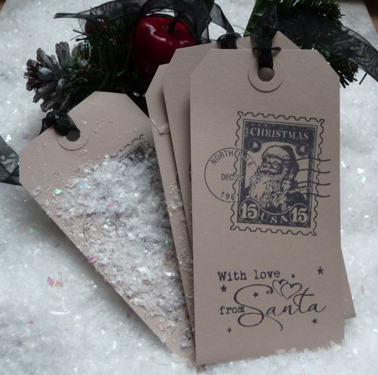 10 With Love from Santa North Pole Special Delivery Christmas Gift Tags brown - pinned by pin4etsy.com