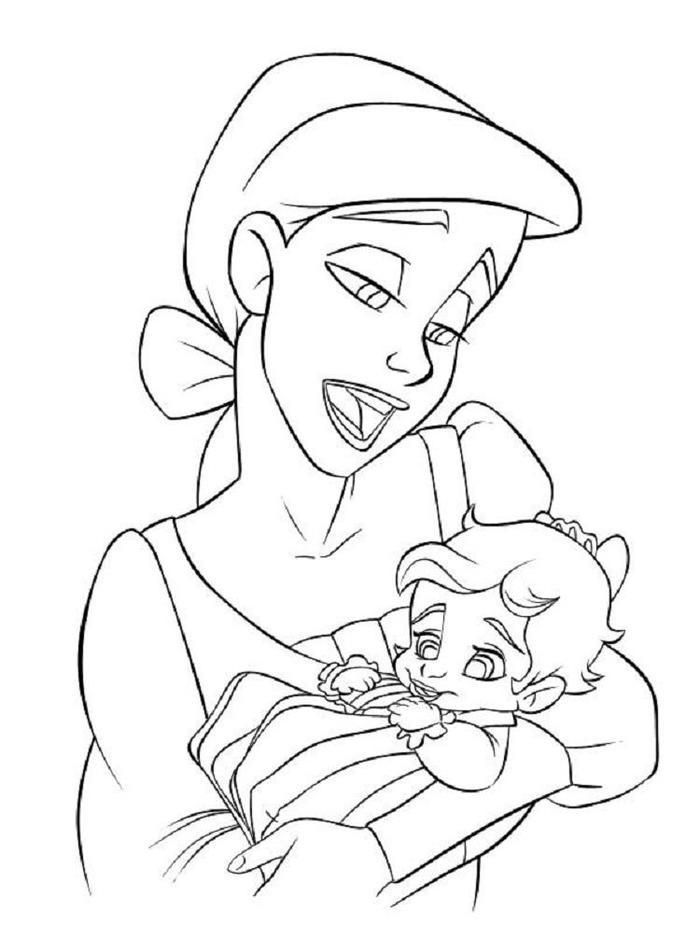 Baby Ariel And Melody Coloring Pages Mermaid Coloring Pages